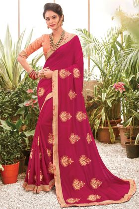 Magenta Color Embroidered Chanderi Silk Saree Collection