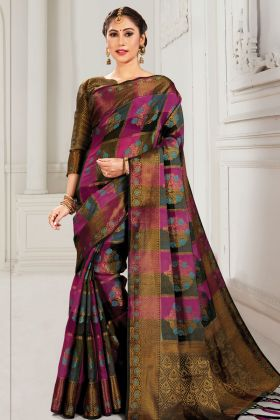 Magenta Pink And Black Cotton Silk Saree For Festival