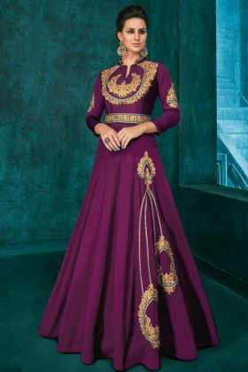 Magenta Color Triva Silk Designer Gown With Embroidery Work
