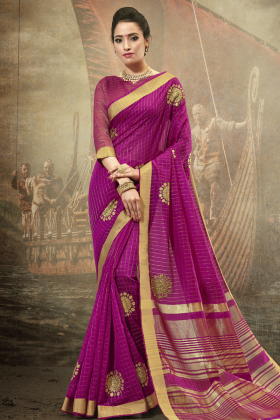 Magenta Cotton Festive Saree