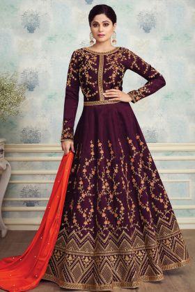 Magenta Mulberry Silk Anarkali Suit Online