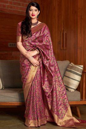 Magenta Pink Color Banarasi Art Silk Festival Saree