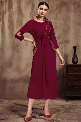 Magenta Pink Color Long Kurti With Muslin Fabric