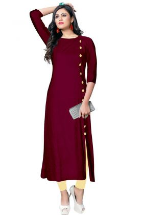 Magenta Pink Color Rayon Plain Kurti With Embroidery Work