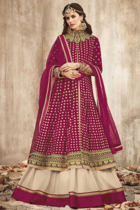 Magenta Pink Designer Salwar Suit In Heavy Embroidered Work