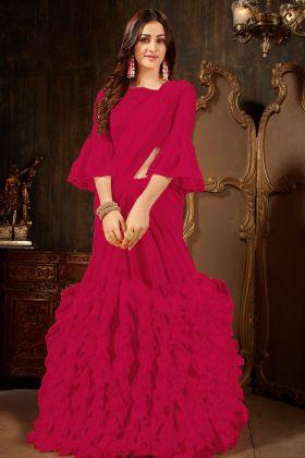 Magenta Pink Georgette Ruffle Saree Online