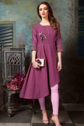 Magenta Pink Khadi Cotton Kurti