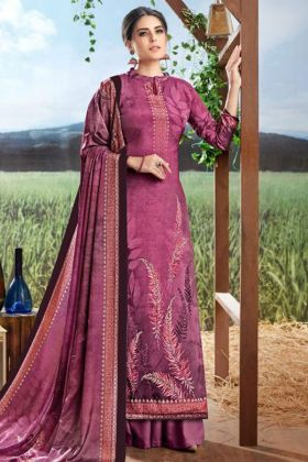 Magenta Pure Crepe Silk Palazzo Salwar Suit With Digital Print