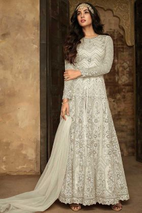 Maisha Embroidery Work Pant Style Soft Net Anarkali Dress In Cream Color