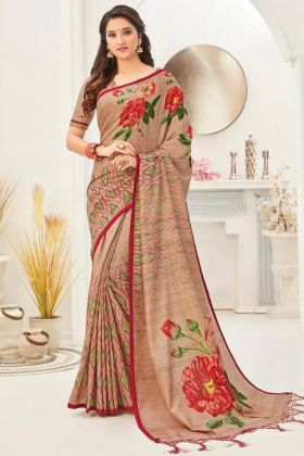 Make Feel Better In Beige Color Wedding Silk Saree Online