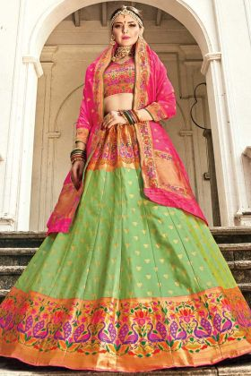 Make Wedding Special In Silk Designer Green Lehenga Choli