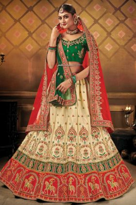 Malai Satin Heavy Designer Wedding Bridal Cream Color Lehenga Choli