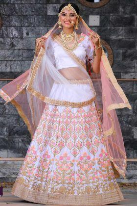Malai Satin Bridal Lehenga Choli With Dori Work Pearl White Color