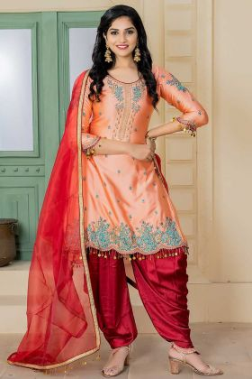 Malai Satin Patiala Salwar Kameez Embroidery Work In Light Peach Color