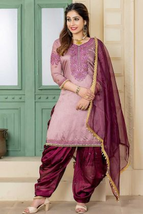 Malai Satin Punjabi Dress Embroidery Work In Rosy Taupe Color