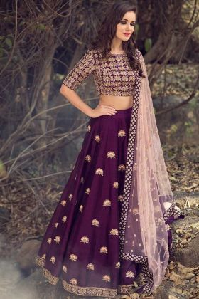 Malai Satin Wedding Lehenga Choli Purple Color With Embroidery Work