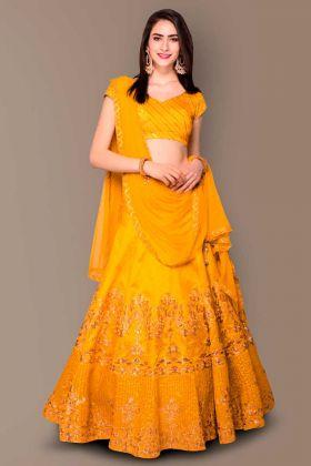 Malbury and Banglori Silk Designer Wedding Lehenga Yellow With Soft Net Dupatta