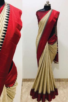 Malgudi Silk Cream Saree With Red Border With Low Rate
