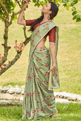 Manipuri Silk Designer Saree Pista Color With Printed Work