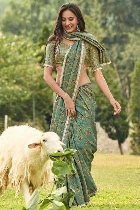 Manipuri Silk Traditional Saree Teal Green Color With Printed Work