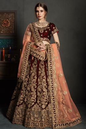 Maroon Velvet Bridal Designer Lehenga Choli