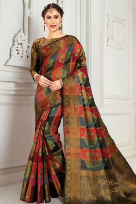 Maroon And Black Cotton Silk Weaving Saree