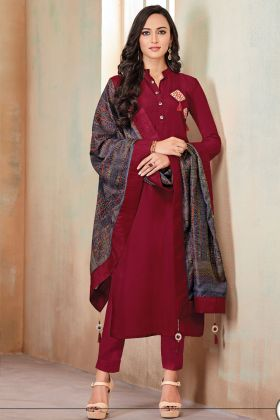 Maroon Color Adorable Zam Cotton Unique Hand Work Kurti