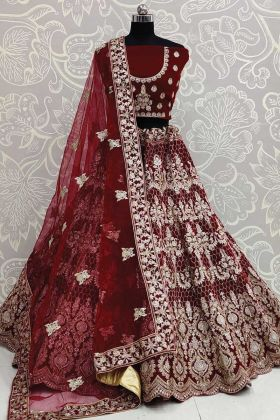 Maroon Color Bridal Lehenga Choli Collection In Velvet Fabric
