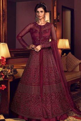 Maroon Color Butterfly Net Indo Western Suit For Wedding