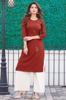 Maroon Color Casual Designer Readymade Kurti
