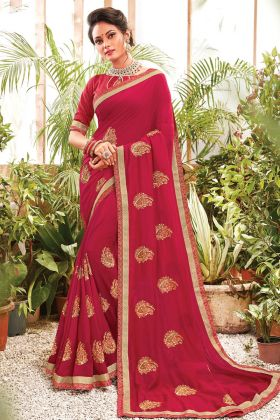 Maroon Color Chanderi Silk Lovable Saree For Pooja