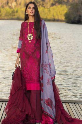 Maroon Color Cotton Designer Pakistani Suit For Eid