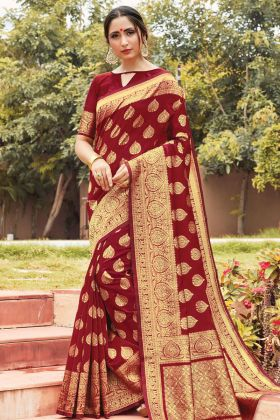 Maroon Color Cotton Handloom Designer Saree