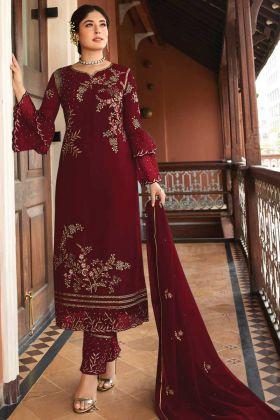 Maroon Color Designer Party Wear Salwar Suit
