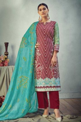 Maroon Color Designer Printed Pure Cambric Cotton Suit