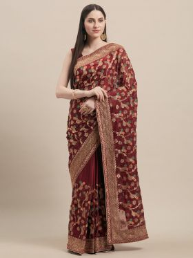 Maroon Color Designer Wedding Saree