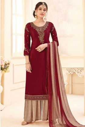 Maroon Color Fancy Embroidery Pure Crepe Plazzo Suit