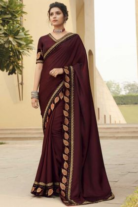 Maroon Color Fancy Fabric Saree With Designer Border