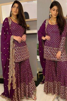 Maroon color Fashion Designer Yankita Kapoor Sharara  Salwar Suit