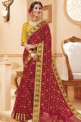Maroon Color Festival Wear Satin Silk Saree