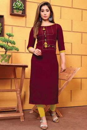 Maroon Color Galaxi Cotton Kurti For Office Wear