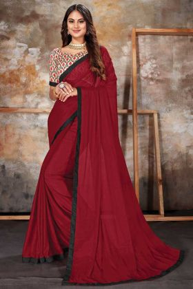 Maroon Color Lycra New Designer Lycra Saree With Silk Blouse