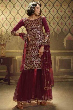 Maroon Color New Launching Heavy Party Wear Dress In Soft Net