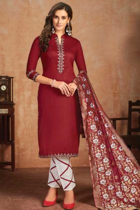 Maroon Color Office Wear Glaze Cotton Salwar Suit