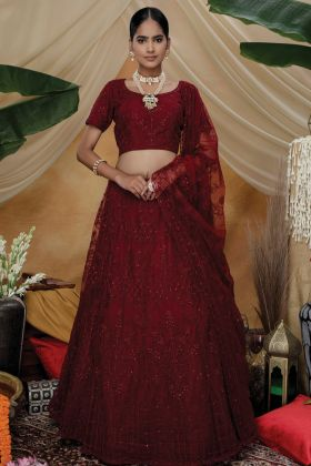 Maroon Color Party Wear Heavy Designer Net Lehenga Choli