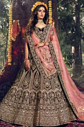 Maroon Color Pure Velvet Lehenga Choli With Stone Dori Work