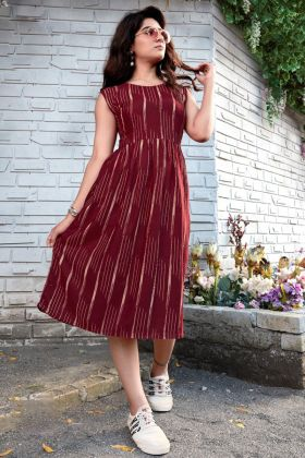 Maroon Color Rayon Printed Western Looking Branded Kurti