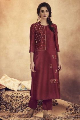 Maroon Color Readymade Pair Of Kurti With Bottom For Puja