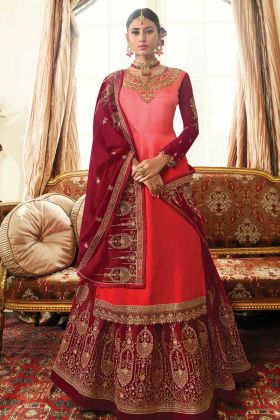 Maroon Color Satin Georgette Lehenga Style Indo Western Dress