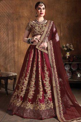 Maroon Color Wedding Embroidery Designer Raw Silk Lehenga